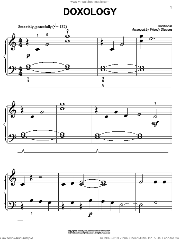 Doxology sheet music for piano solo (big note book)  and Wendy Stevens. Score Image Preview.