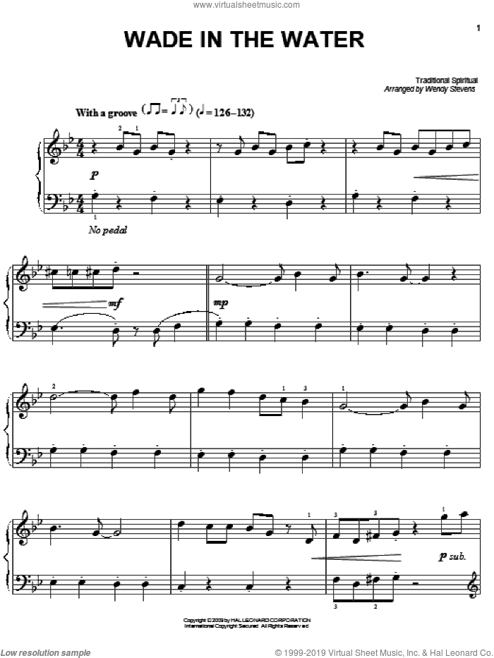 Wade In The Water sheet music for piano solo  and Wendy Stevens, easy skill level