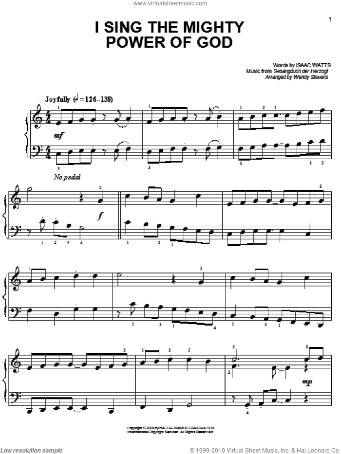 I Sing The Mighty Power Of God sheet music for piano solo by Gesangbuch der Herzogl, Wendy Stevens and Isaac Watts. Score Image Preview.