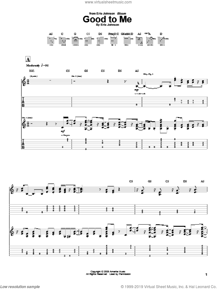 Good To Me sheet music for guitar (tablature) by Eric Johnson. Score Image Preview.