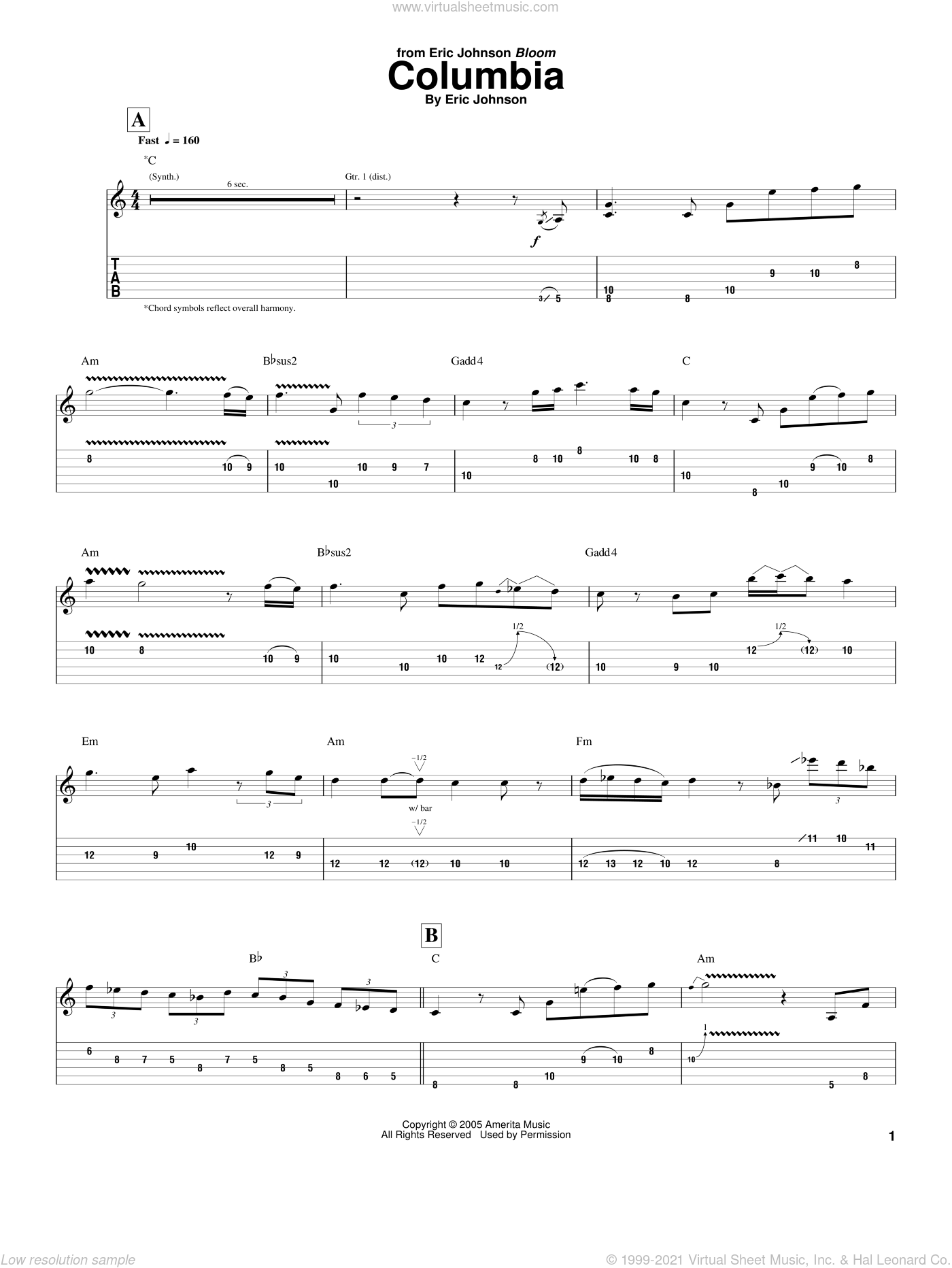 Columbia sheet music for guitar (tablature) by Eric Johnson. Score Image Preview.