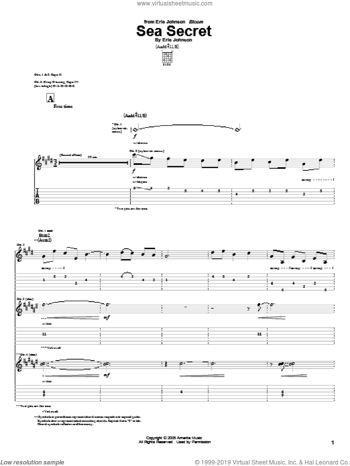 Sea Secret sheet music for guitar (tablature) by Eric Johnson, intermediate skill level