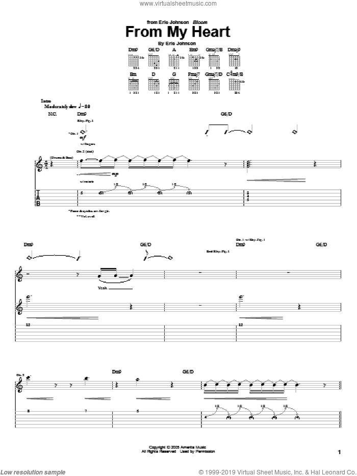 From My Heart sheet music for guitar (tablature) by Eric Johnson