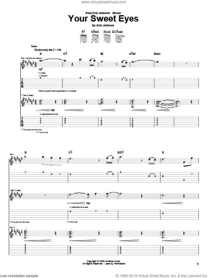 Your Sweet Eyes sheet music for guitar (tablature) by Eric Johnson. Score Image Preview.