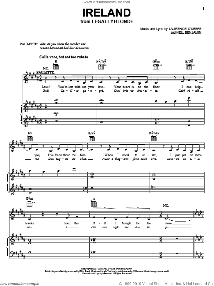 Ireland sheet music for voice and piano by Legally Blonde The Musical and Nell Benjamin, intermediate skill level