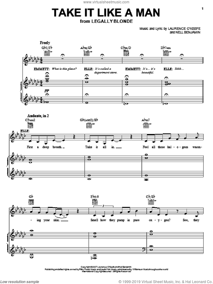 Take It Like A Man sheet music for voice and piano by Legally Blonde The Musical and Nell Benjamin, intermediate skill level