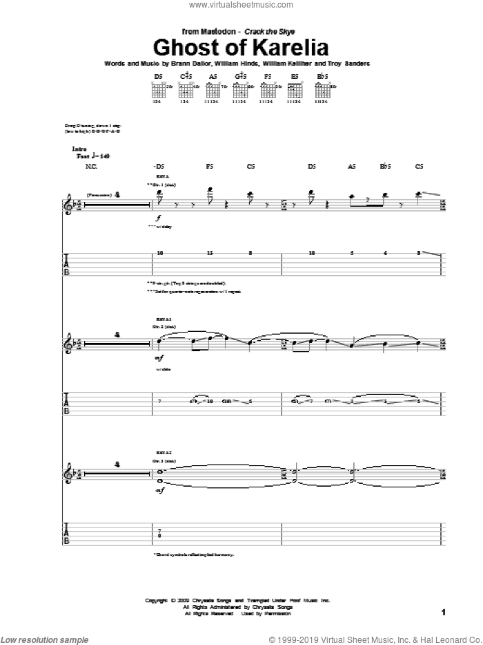 Ghost Of Karelia sheet music for guitar (tablature) by Mastodon, Brann Dailor, Troy Sanders, William Hinds and William Kelliher, intermediate. Score Image Preview.