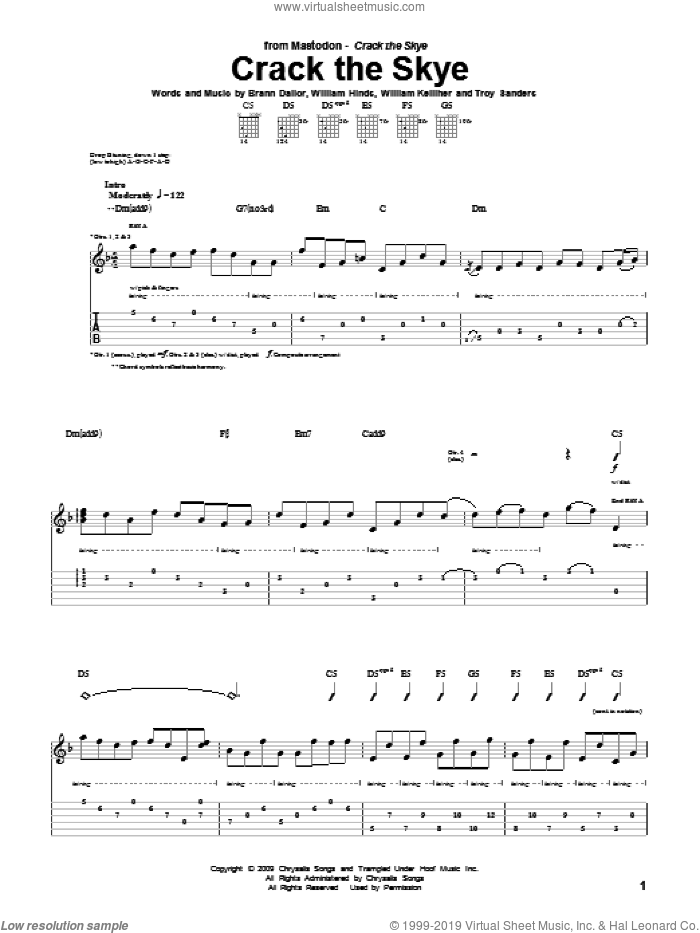 Crack The Skye sheet music for guitar (tablature) by William Kelliher, Mastodon and Troy Sanders. Score Image Preview.