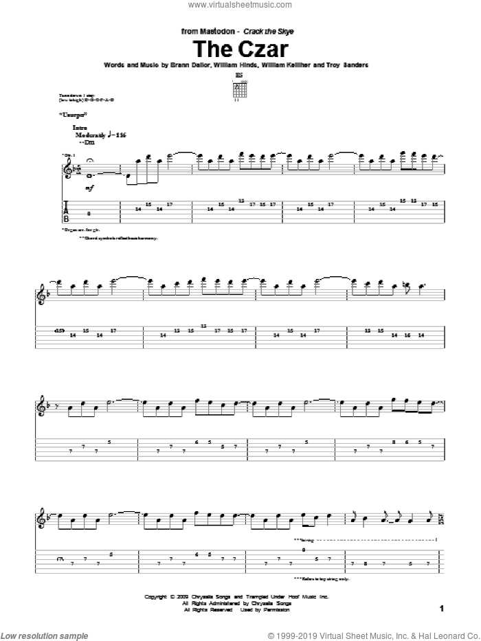 The Czar sheet music for guitar (tablature) by Mastodon, intermediate. Score Image Preview.