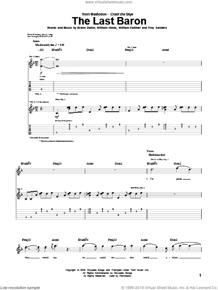 The Last Baron sheet music for guitar (tablature) by Mastodon, Brann Dailor, Troy Sanders, William Hinds and William Kelliher, intermediate