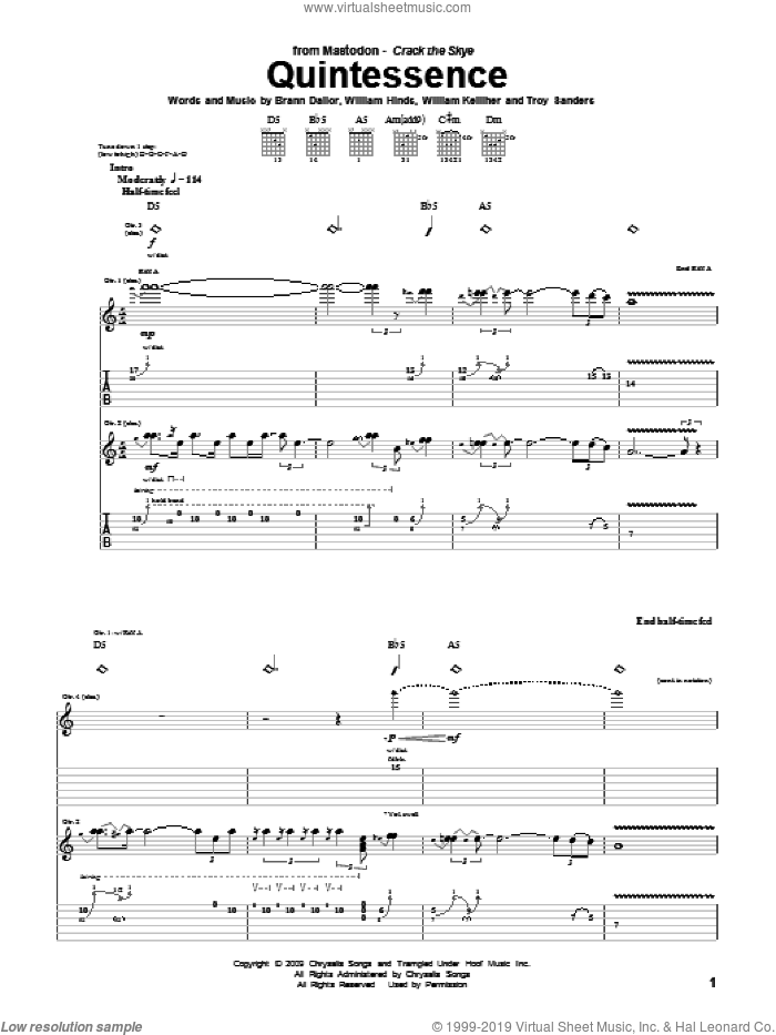 Quintessence sheet music for guitar (tablature) by Mastodon, Brann Dailor, Troy Sanders, William Hinds and William Kelliher, intermediate skill level