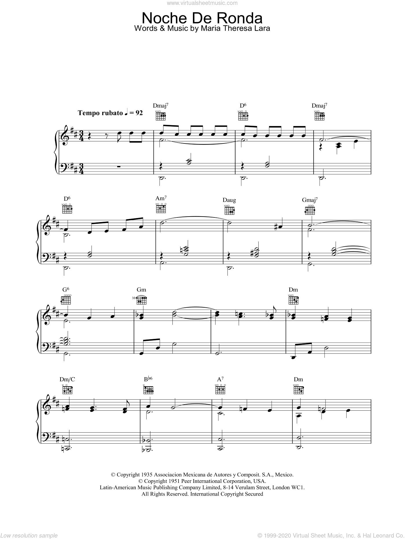 Noche De Ronda sheet music for voice, piano or guitar by Placido Domingo, classical score, intermediate skill level