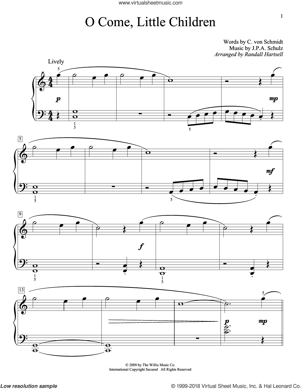 O Come, Little Children sheet music for piano solo (elementary) by J.A.P. Schulz, Randall Hartsell and Cristoph Von Schmid, beginner piano (elementary)