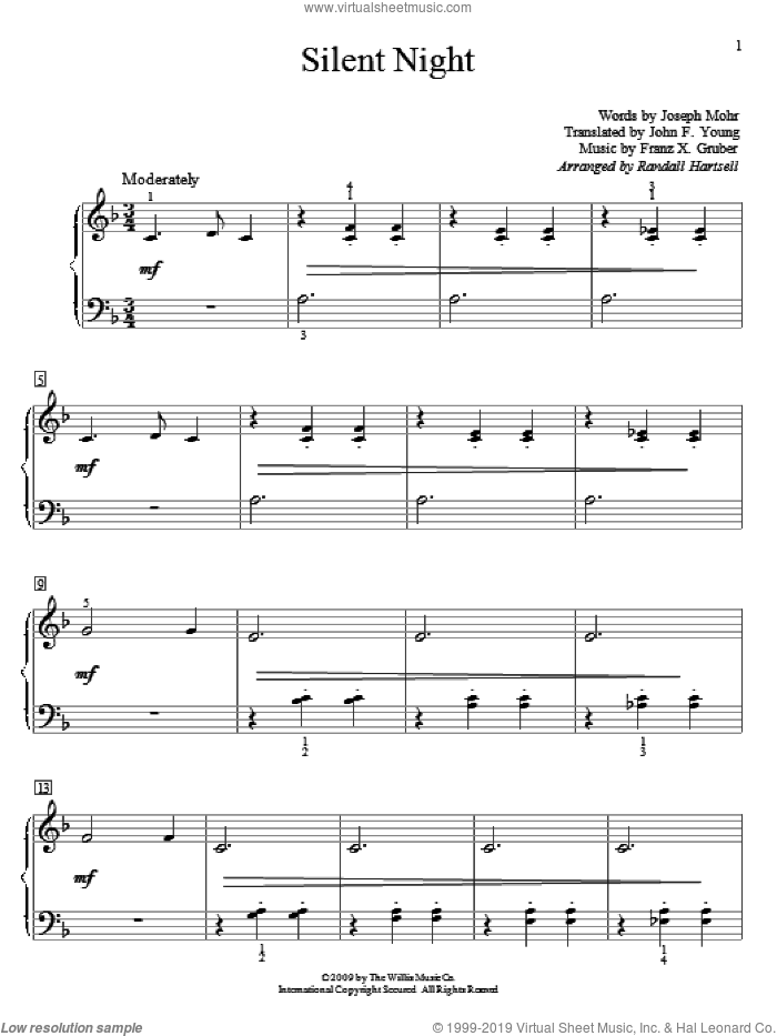Silent Night sheet music for piano solo (elementary) by Joseph Mohr, Randall Hartsell, Franz Gruber and John F. Young, beginner piano (elementary)