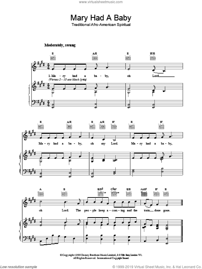 Mary Had A Baby sheet music for voice, piano or guitar. Score Image Preview.