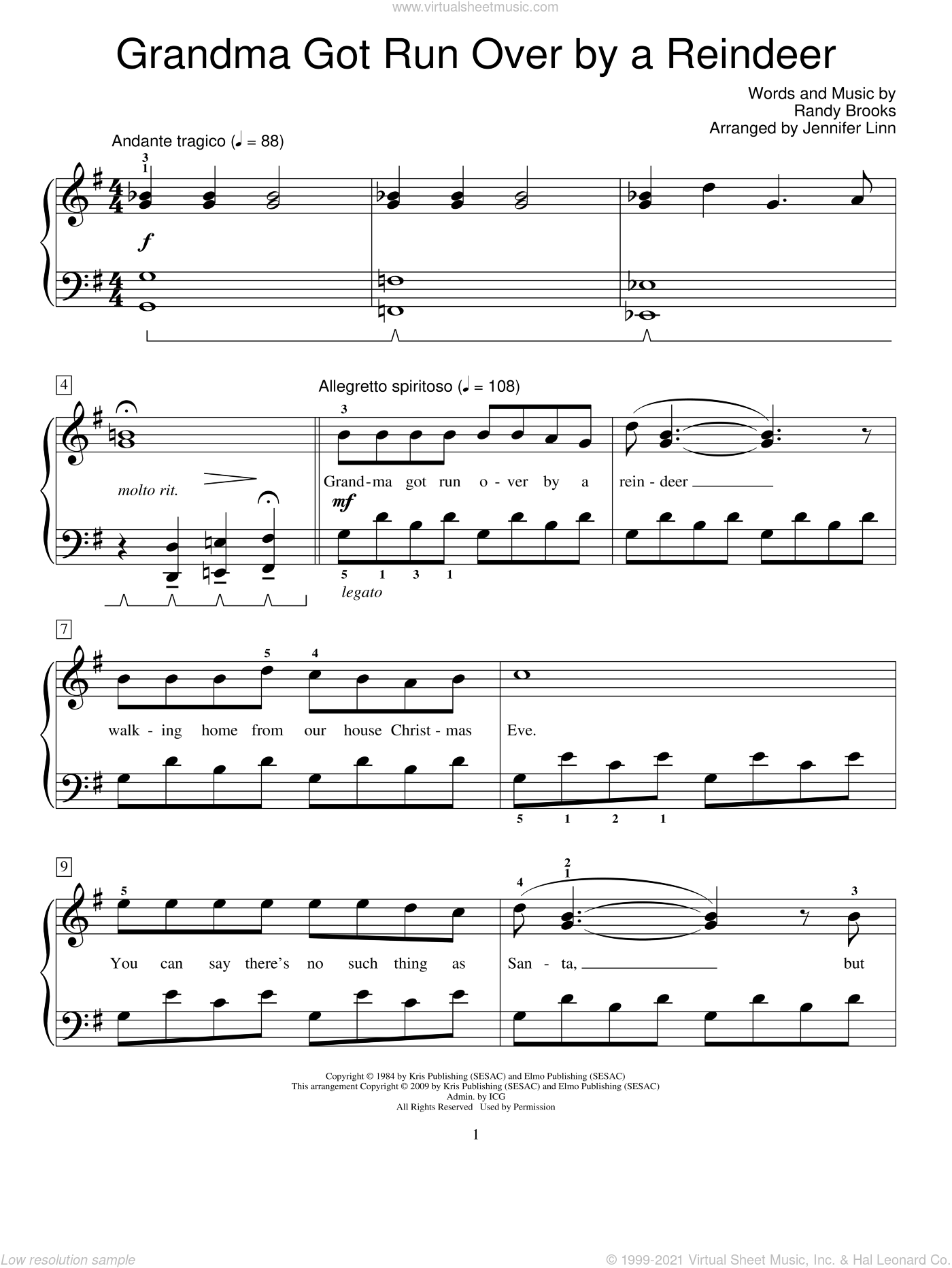Grandma Got Run Over By A Reindeer sheet music for piano solo (elementary) by Randy Brooks, Jennifer Linn and Miscellaneous, beginner piano (elementary)