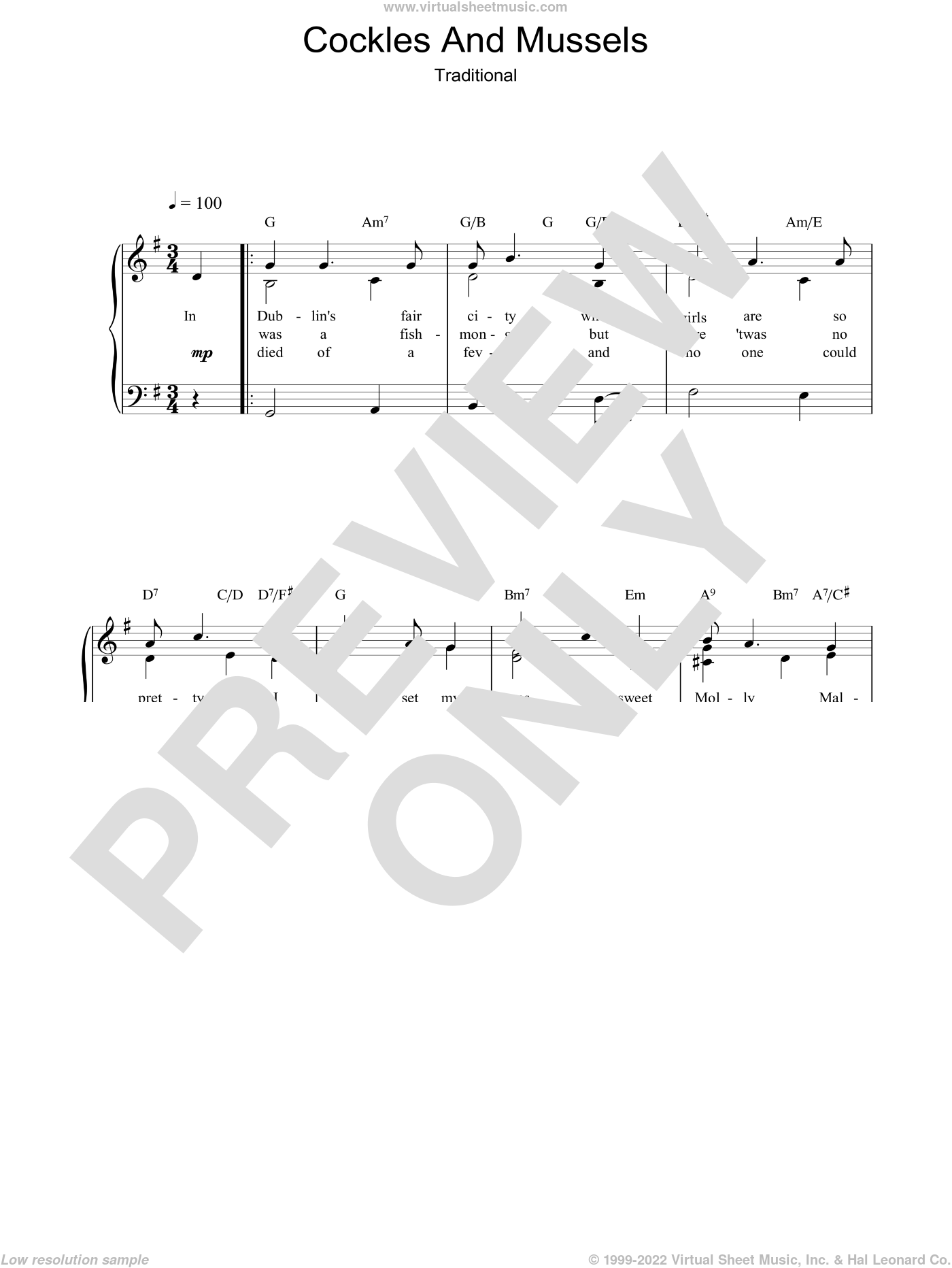 Cockles And Mussels sheet music for voice, piano or guitar, intermediate voice, piano or guitar. Score Image Preview.