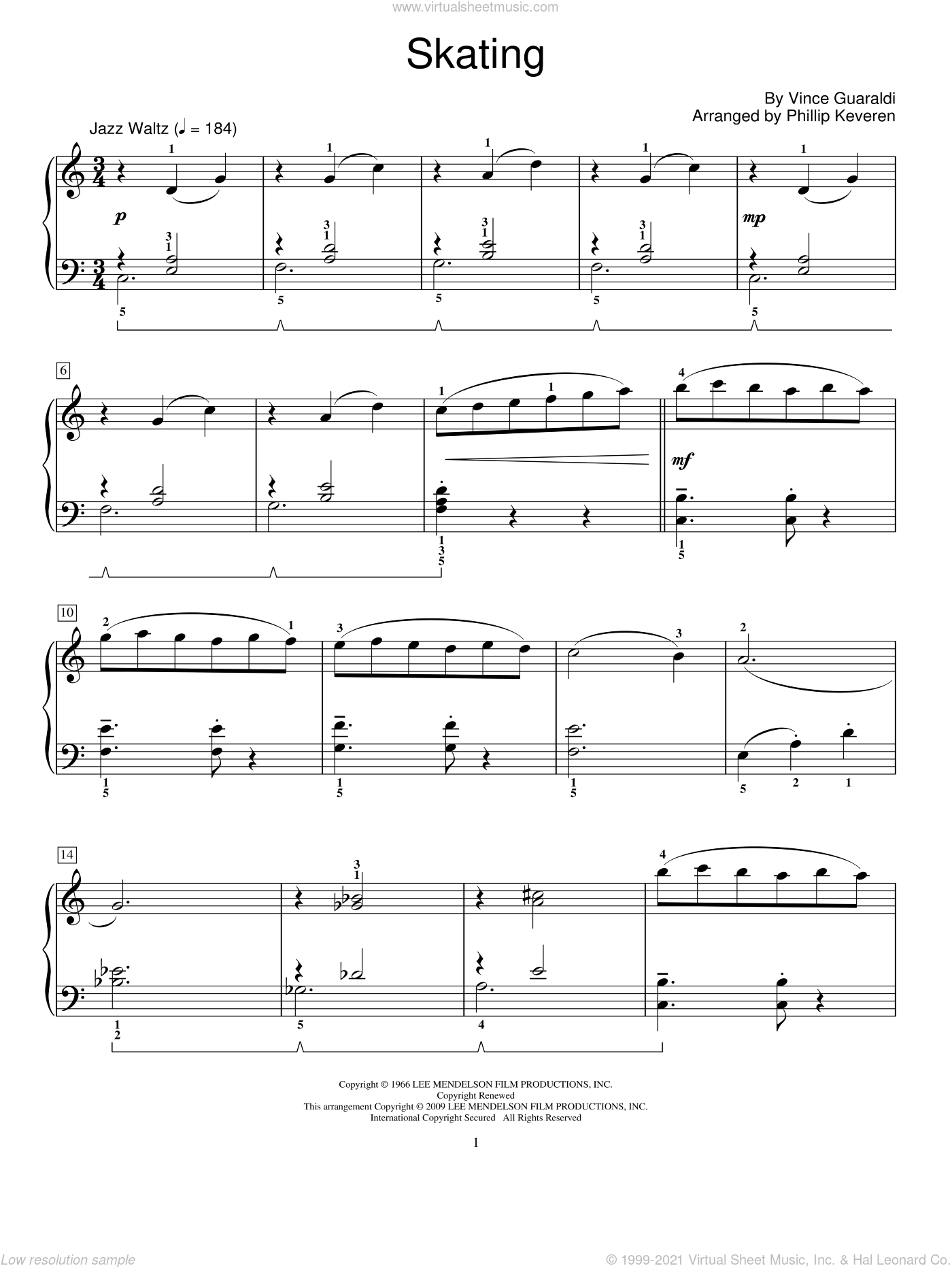 Skating sheet music for piano solo (elementary) by Vince Guaraldi, Phillip Keveren and Miscellaneous. Score Image Preview.