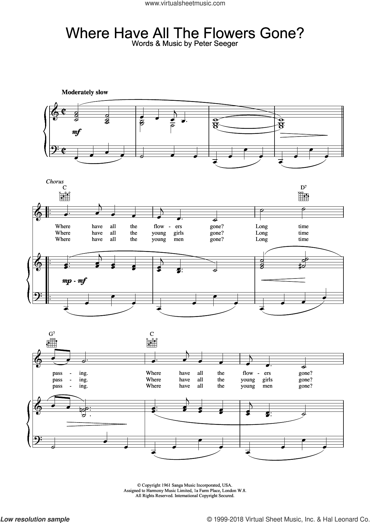 Where Have All The Flowers Gone sheet music for voice, piano or guitar by Pete Seeger and Peter Seeger, intermediate skill level