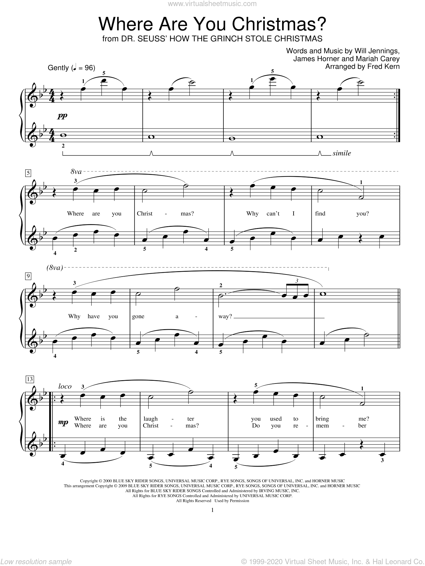 Where Are You Christmas? (arr. Fred Kern) (from How The Grinch Stole Christmas) sheet music for piano solo (elementary) by Faith Hill, Fred Kern, Miscellaneous, James Horner, Mariah Carey and Will Jennings, beginner piano (elementary)