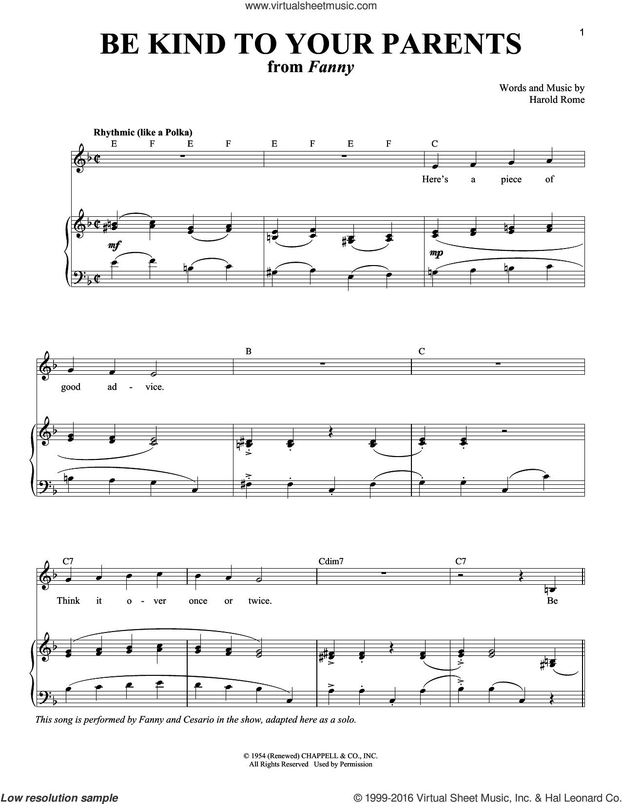 Be Kind To Your Parents sheet music for voice and piano by Harold Rome