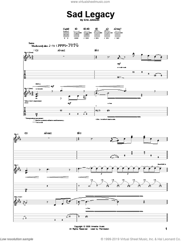 Sad Legacy sheet music for guitar (tablature) by Eric Johnson. Score Image Preview.