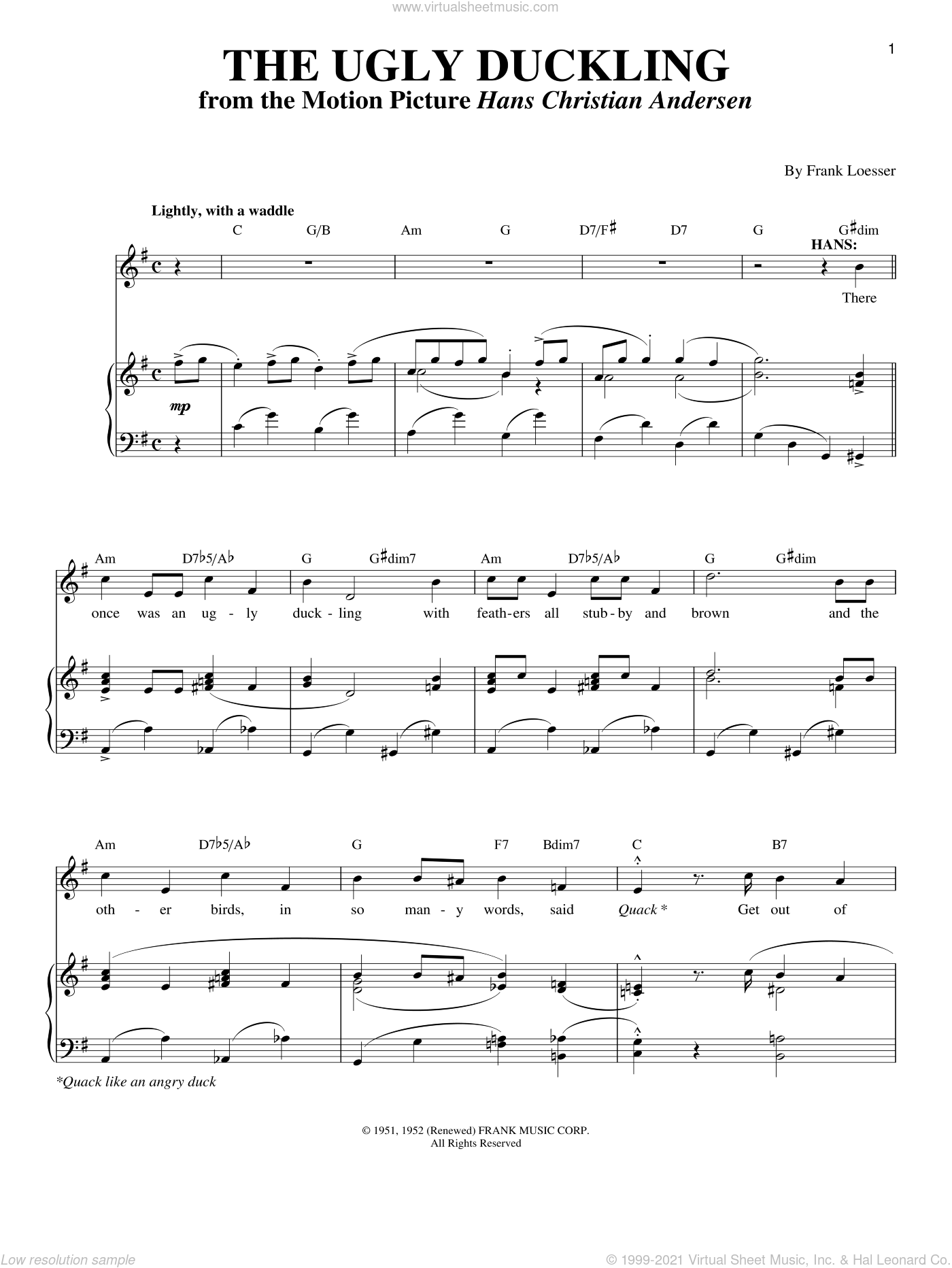 The Ugly Duckling sheet music for voice and piano by Frank Loesser, intermediate skill level
