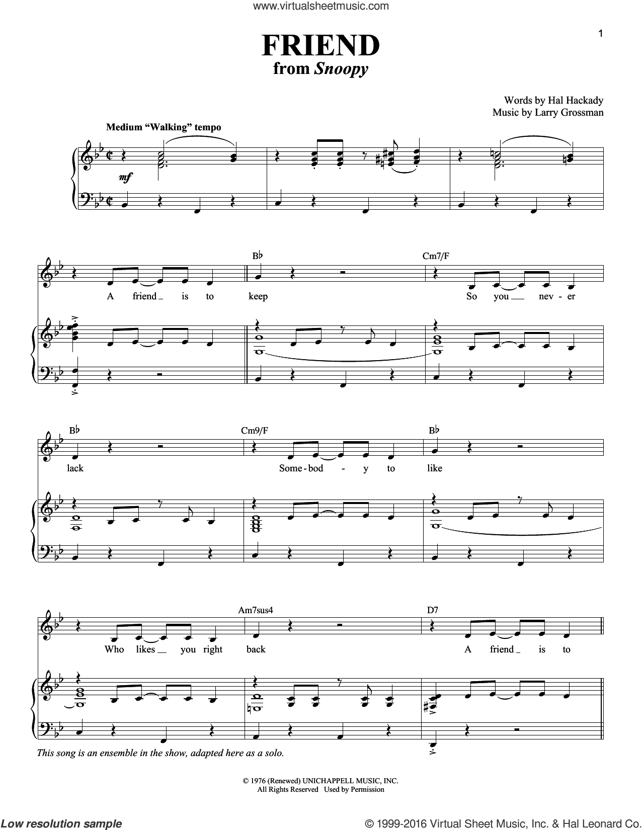 Friend sheet music for voice and piano by Larry Grossman. Score Image Preview.