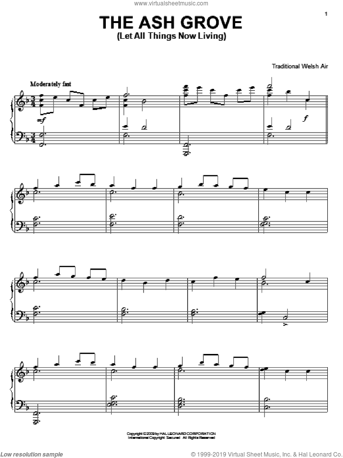 The Ash Grove sheet music for piano solo by Old Welsh Air and Miscellaneous, intermediate skill level