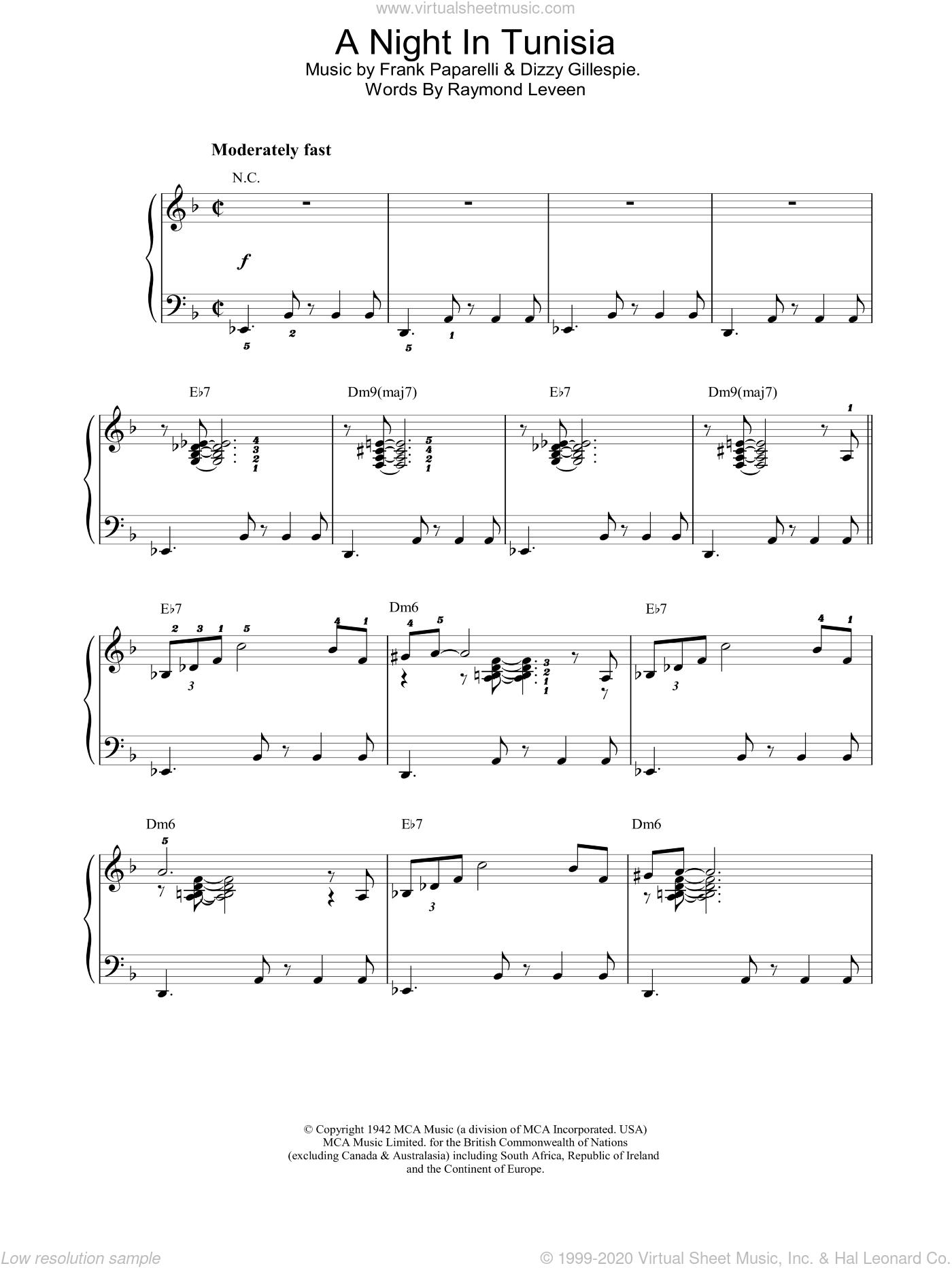 A Night In Tunisia sheet music for piano solo by Dizzy Gillespie and Frank Paparelli, intermediate skill level