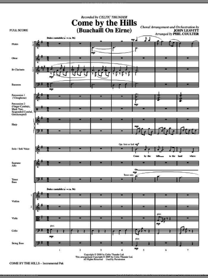 Come By The Hills (Buachaill On Eirne) (COMPLETE) sheet music for orchestra/band (chamber ensemble) by John Leavitt, Celtic Thunder and Phil Coulter, intermediate skill level