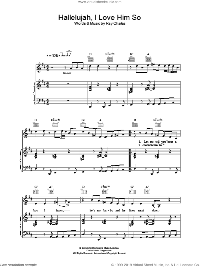 Hallelujah, I Love Him So sheet music for voice, piano or guitar by Eva Cassidy, intermediate. Score Image Preview.