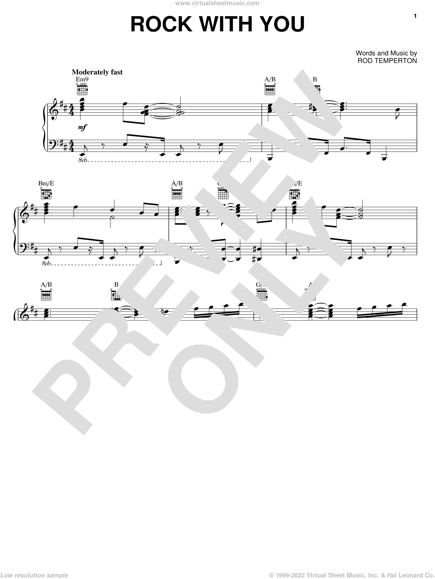 Rock With You sheet music for voice, piano or guitar by Michael Jackson and Rod Temperton, intermediate skill level
