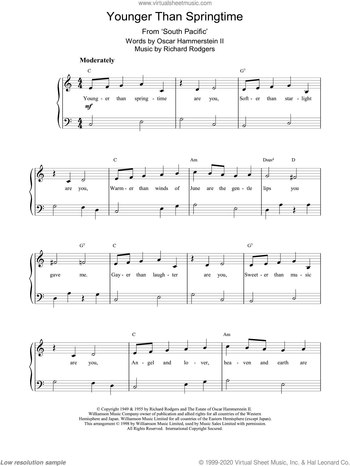 Younger Than Springtime, (easy) sheet music for piano solo by Rodgers & Hammerstein, South Pacific (Musical), Oscar II Hammerstein and Richard Rodgers, easy skill level