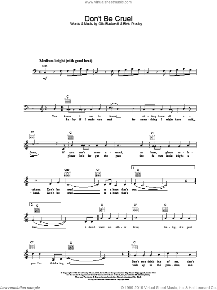 Don't Be Cruel (To A Heart That's True) sheet music for voice and other instruments (fake book) by Elvis Presley and Otis Blackwell, intermediate skill level