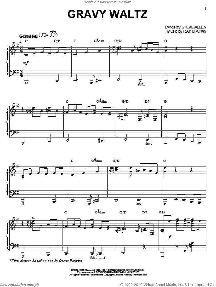 Gravy Waltz sheet music for piano solo by Steve Allen and Ray Brown, intermediate skill level