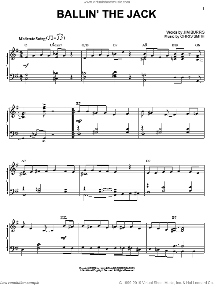 Ballin' The Jack sheet music for piano solo by Jim Burris and Jelly Roll Morton. Score Image Preview.