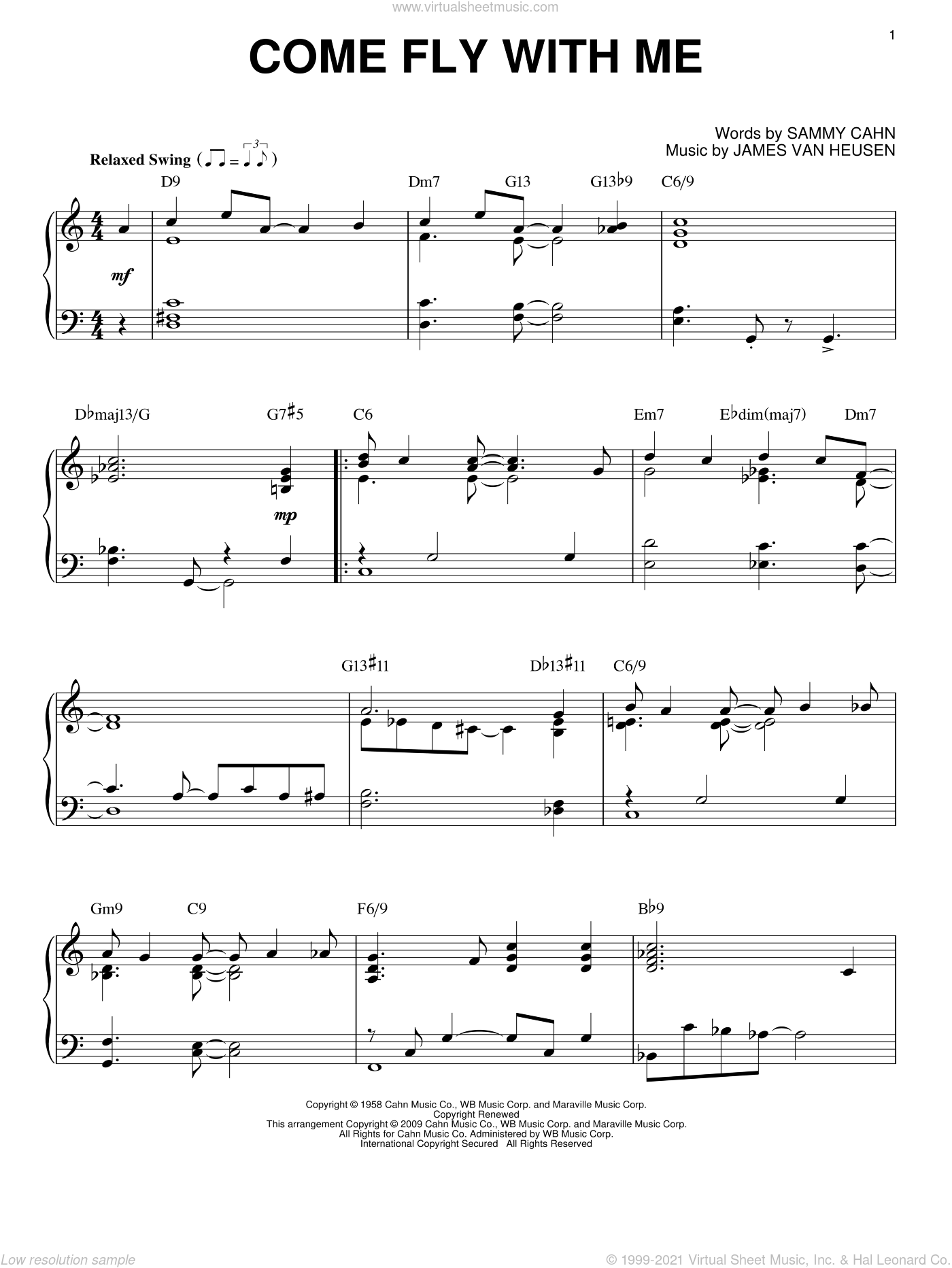 Come Fly With Me sheet music for piano solo by Frank Sinatra, Jimmy van Heusen and Sammy Cahn, intermediate piano. Score Image Preview.