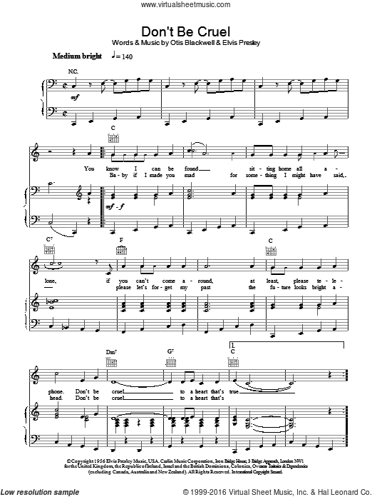 Don't Be Cruel (To A Heart That's True) sheet music for voice, piano or guitar by Otis Blackwell and Elvis Presley. Score Image Preview.