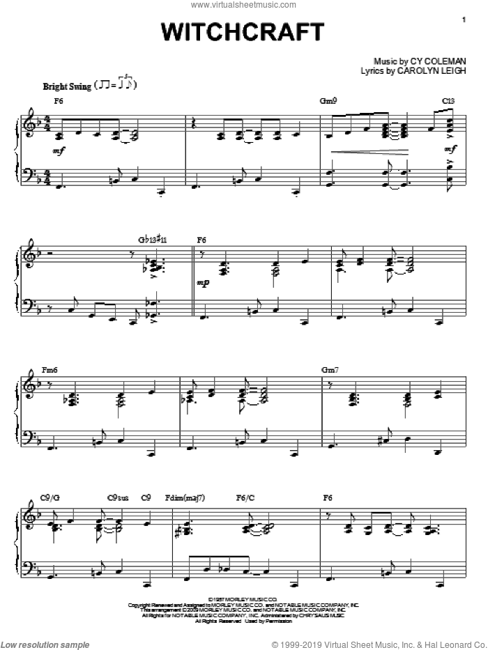 Witchcraft sheet music for piano solo by Cy Coleman, Frank Sinatra and Carolyn Leigh, intermediate skill level