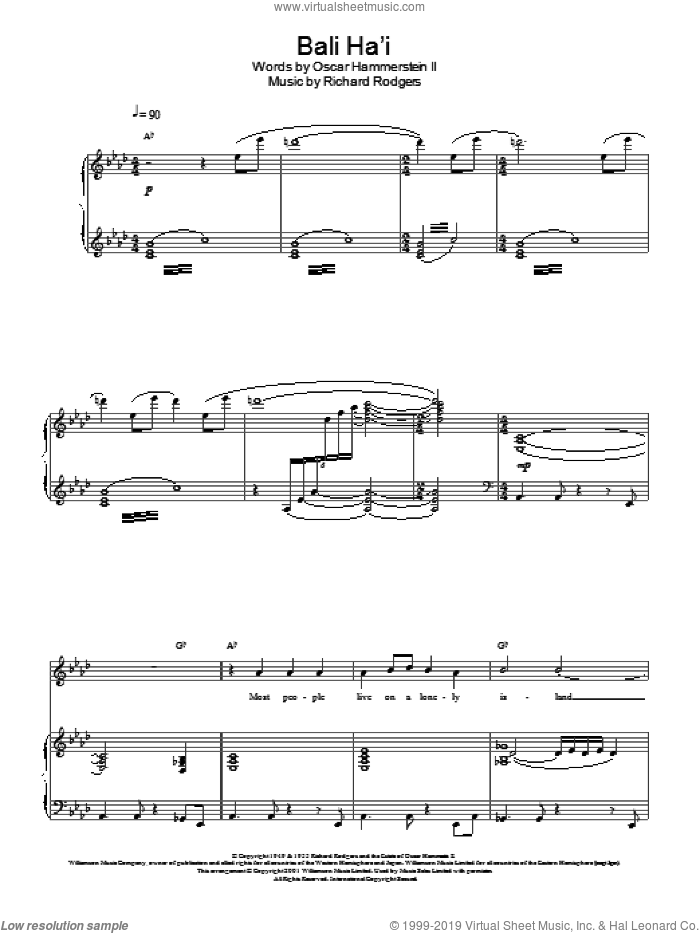 Bali Ha'i sheet music for voice, piano or guitar by Charlotte Church. Score Image Preview.