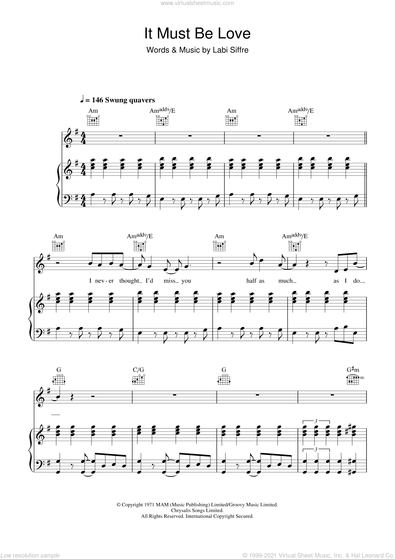 It Must Be Love sheet music for voice, piano or guitar by Madness and Labi Siffre, intermediate. Score Image Preview.