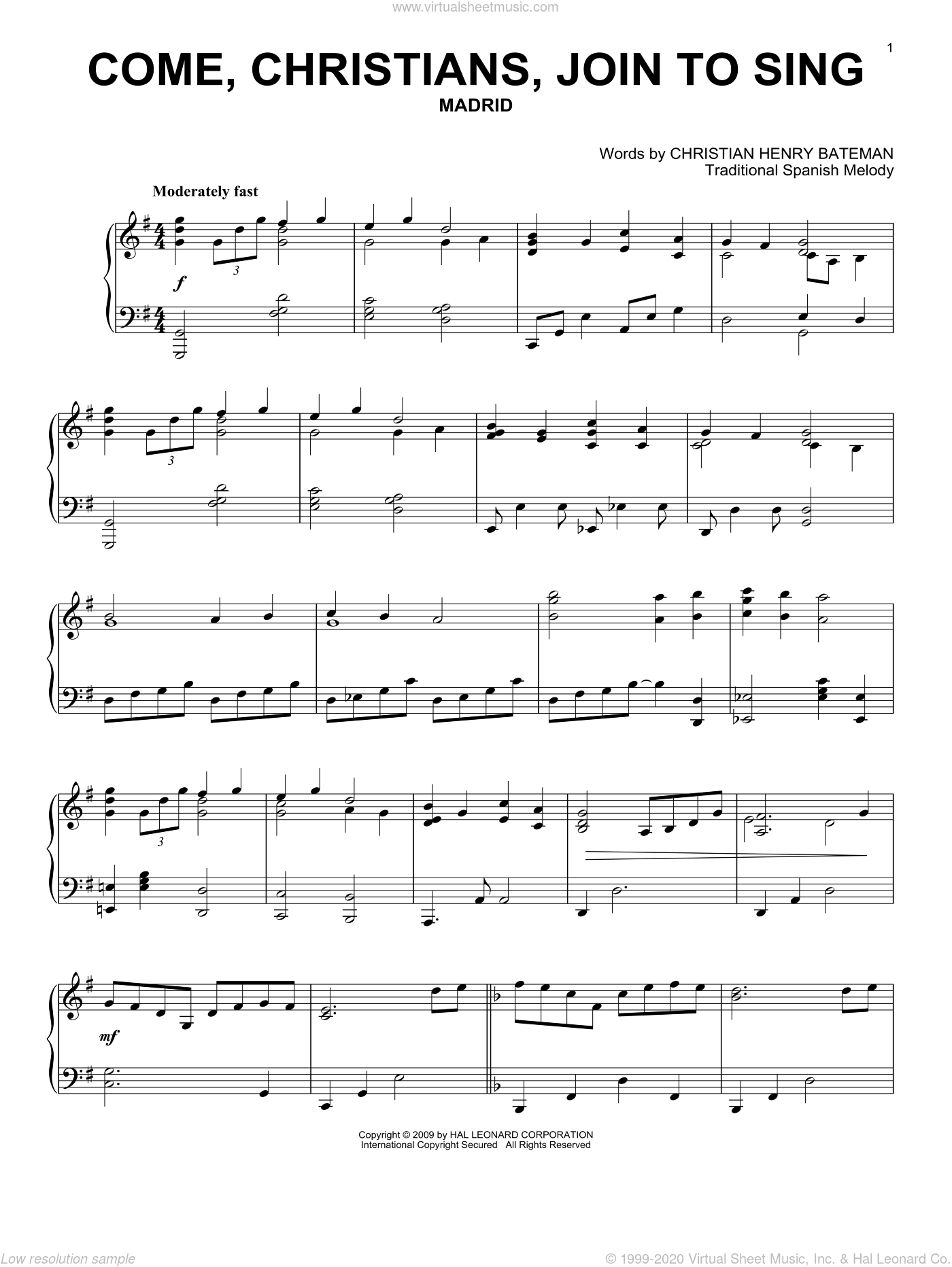 Come, Christians, Join To Sing, (intermediate) sheet music for piano solo by Christian Henry Bateman and Miscellaneous, intermediate skill level