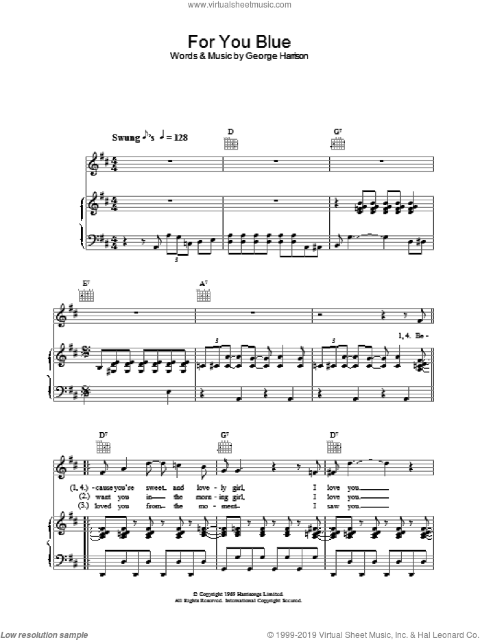 For You Blue sheet music for voice, piano or guitar by The Beatles. Score Image Preview.