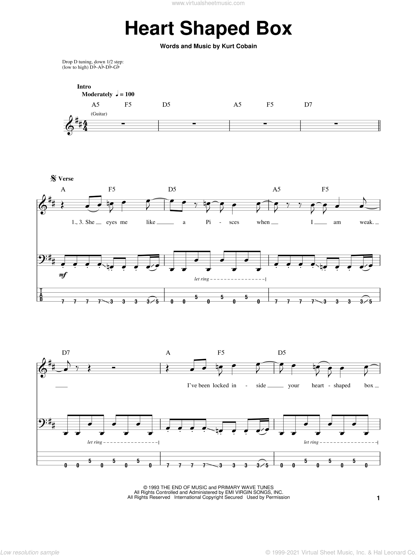 Heart Shaped Box sheet music for bass (tablature) (bass guitar) by Nirvana, intermediate. Score Image Preview.