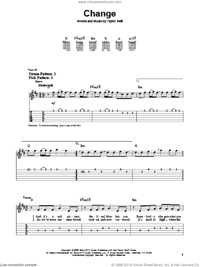 Change sheet music for guitar solo (easy tablature) by Taylor Swift