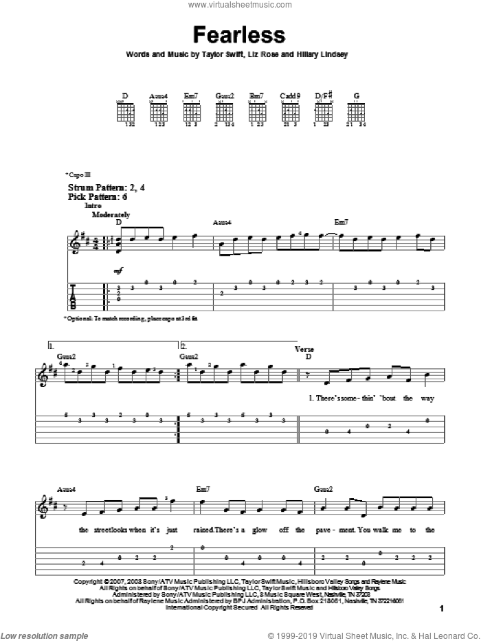 Fearless sheet music for guitar solo (easy tablature) by Taylor Swift, Hillary Lindsey and Liz Rose, easy guitar (easy tablature)
