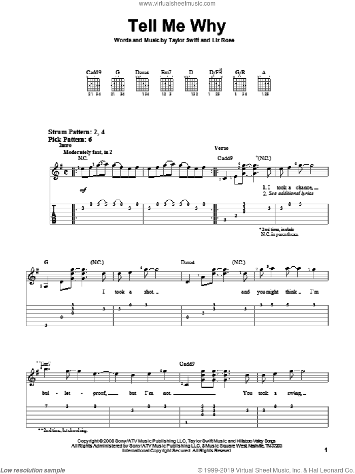 Tell Me Why sheet music for guitar solo (easy tablature) by Taylor Swift and Liz Rose, easy guitar (easy tablature). Score Image Preview.