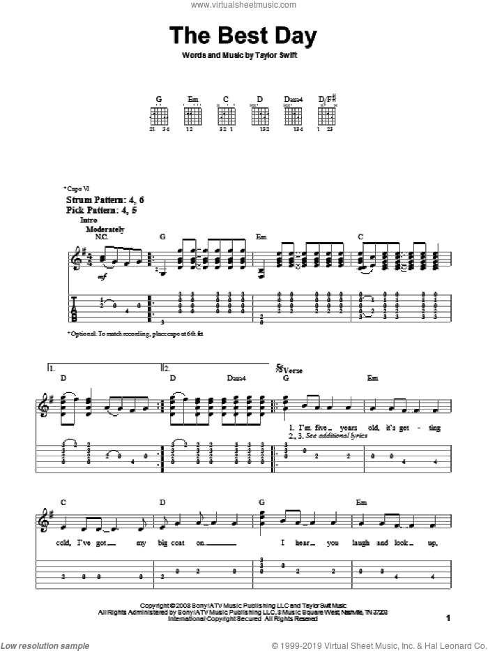 The Best Day sheet music for guitar solo (easy tablature) by Taylor Swift, easy guitar (easy tablature)