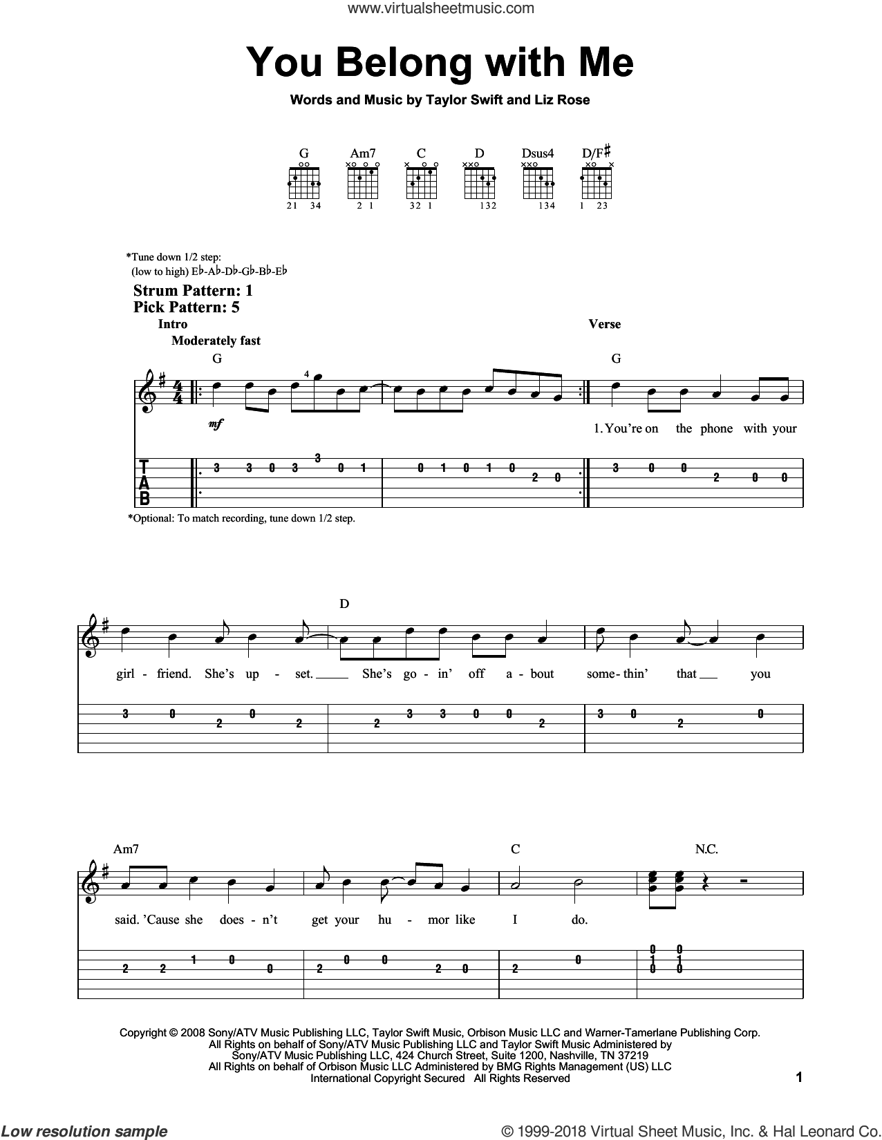You Belong With Me sheet music for guitar solo (easy tablature) by Taylor Swift and Liz Rose, easy guitar (easy tablature)